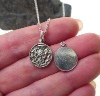 Sterling Silver Thistle Charm, Scottish Thistle Medallion