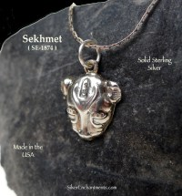 Sterling Silver Sekhmet Necklace, Bast Charm, Egyptian ...