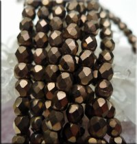 Czech Glass Beads, Fire Polished DARK BRONZE Matte 4mm