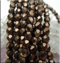 Czech Glass Beads, Fire Polished DARK BRONZE Matte 4mm