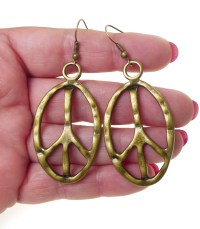 Bronze Large Peace Sign Earrings