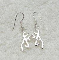 Silver Reindeer Earrings, Stag Earrings, Deer Earrings