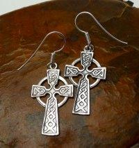Sterling Silver Celtic Cross Earrings, Celtic Cross with ...