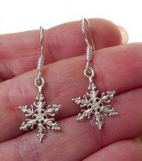 Snowflake Earrings, Sterling Silver Snowflake Charm ...