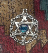 Sterling Silver Victorian Star of David Pendant with Gemstone