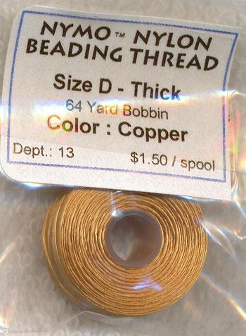 COPPER Nymo Thread. Size D Thick Nylon Beading Thread