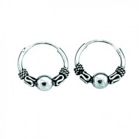 Sterling Silver Small Indo Hoop Earrings