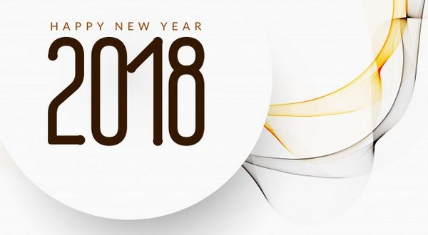 Happy New Year Card 2018 and Winter Symbols Vector Download