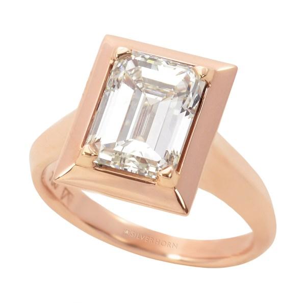Silverhorn rose gold emerald cut diamond ring