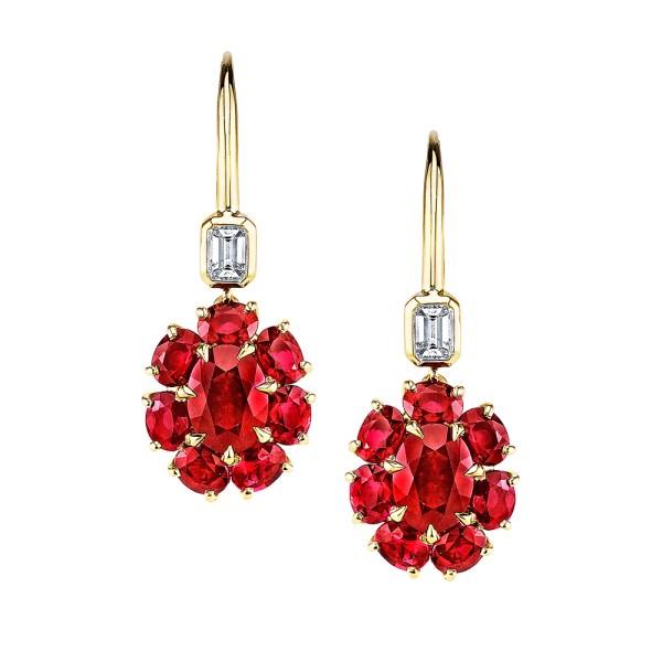 Silverhorn ruby and diamond earrings
