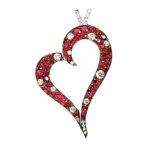 Silverhorn ruby & diamond heart Pendant