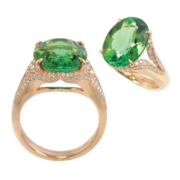 Silverhorn oval green tourmaline ring