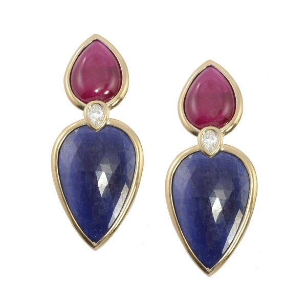 Silverhorn ruby and sapphire slice earrings v2