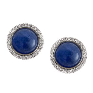 Silverhorn sapphire button earrings