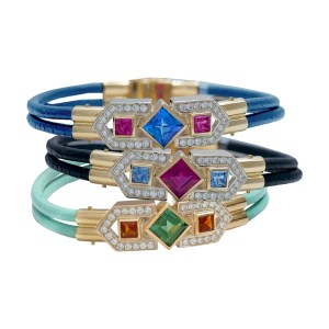 Silverhorn Colored Gem & Diamond Bracelets set in 18kt gold on leather
