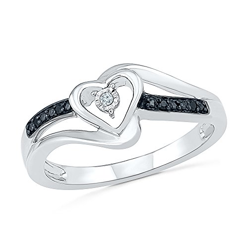 Sterling Silver Round Diamond Black And White Heart