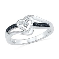 Sterling Silver Round Diamond Black And White Heart ...