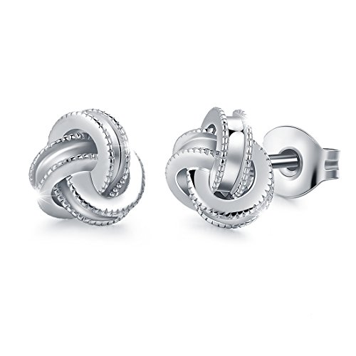 White Gold Plated Sterling Silver Studs Love Knot Earring