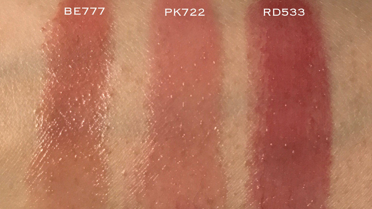 Shiseido Maquillage Dramatic Rouge BE777 PK722 RD533 swatches