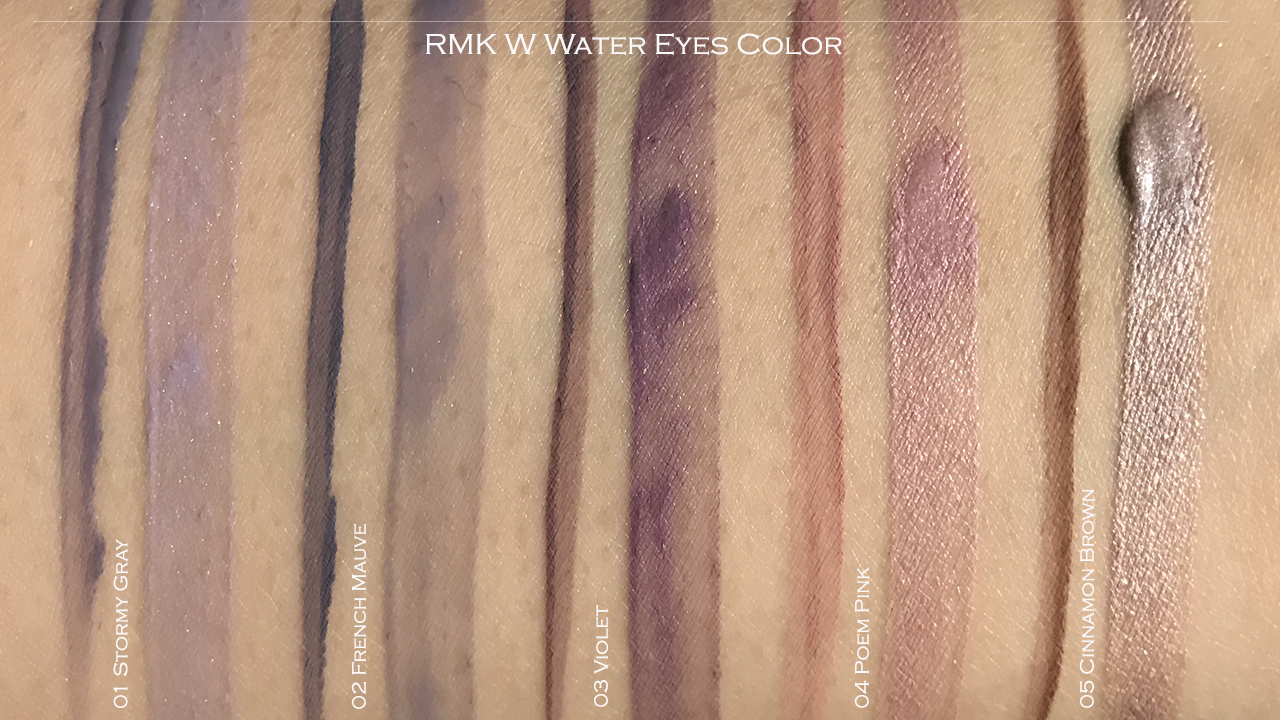 RMK W Water Eyes Color swatches 01-05