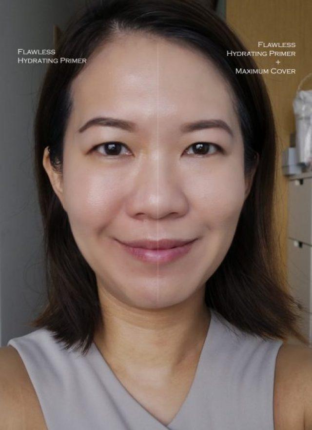 Estee Lauder Double Wear Maximum Cover Foundation before after comparison