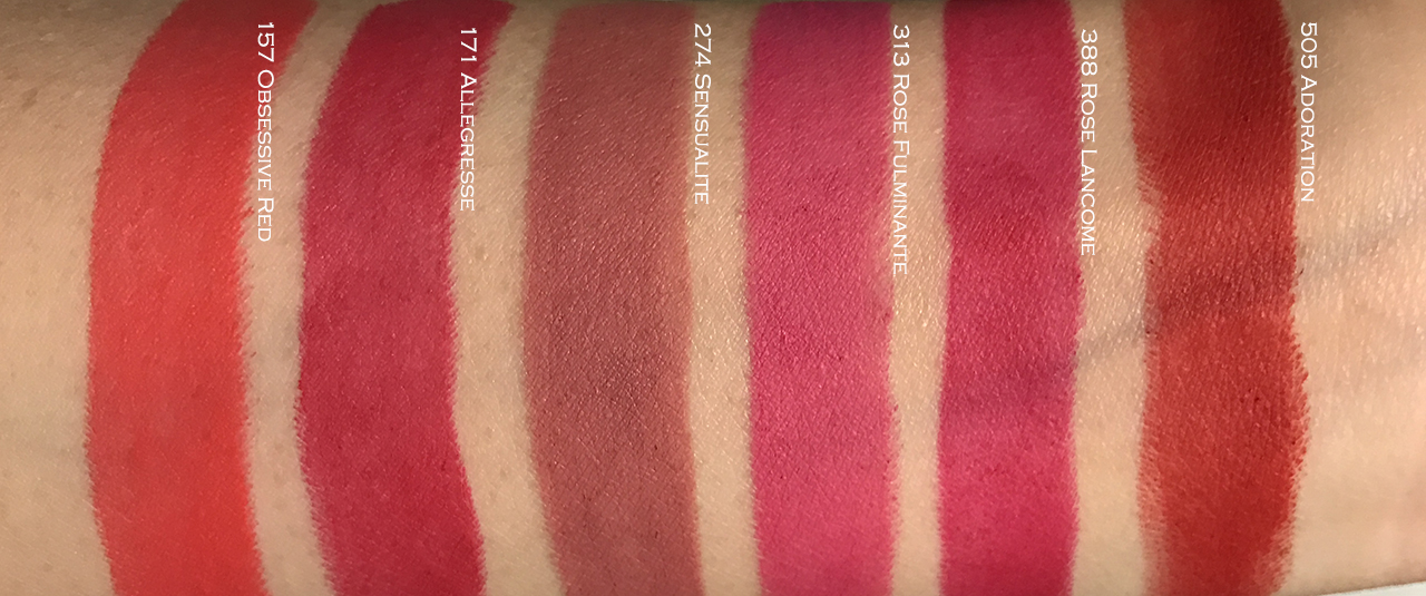 Lancome L'Absolu Rouge Drama Matte arm swatches