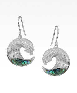 Pavé and Abalone Wave Earrings