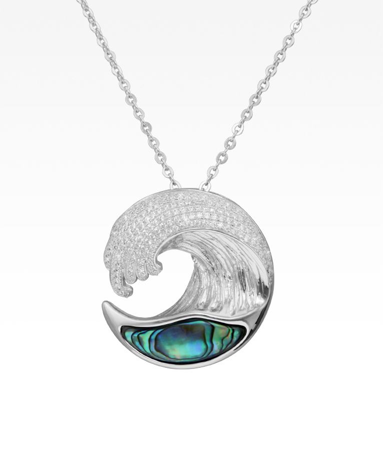 Pavé and Abalone Wave Necklace