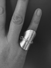 Silver leather double ring 2