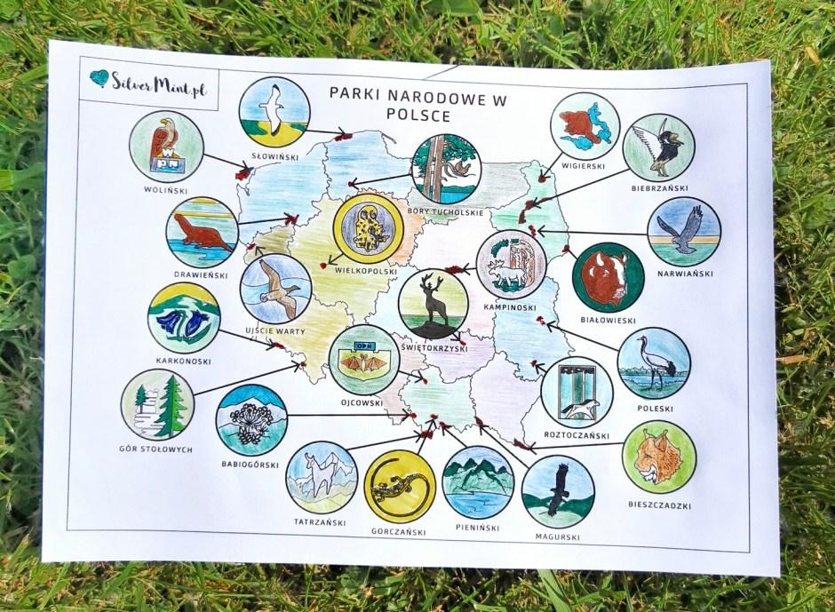 SilverMint blog mapa parki narodowe w Polsce do kolorowania