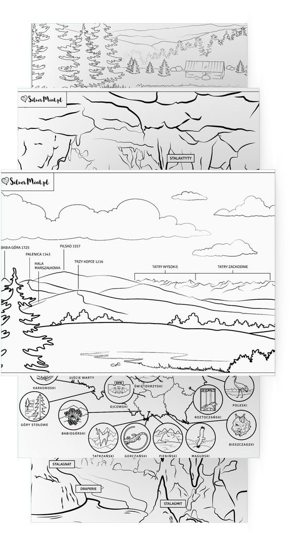 SilverMint blog kolorowanka w góry z dziećmi