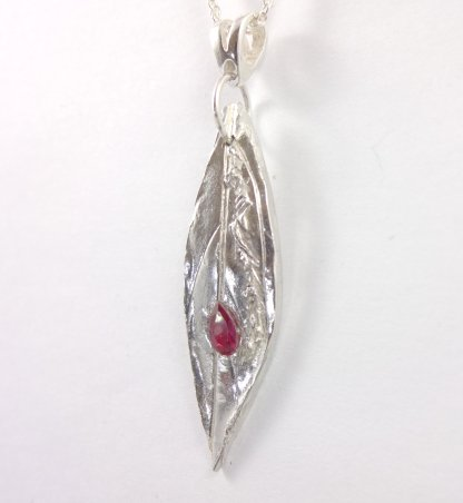 1088 2 Slender Silver Leaf Pendant with Red Teardrop CZ Crystal from SilverMistDesign.co.uk