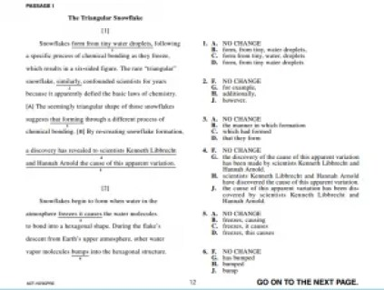 ACT English Sample Question