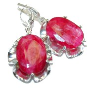 Natural Beauty Pink Ruby Sterling Silver earrings - 13.20g ...