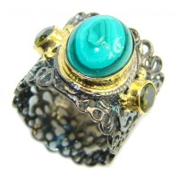 Beautiful Green Malachite, Gold Plated, Rhodium Plated