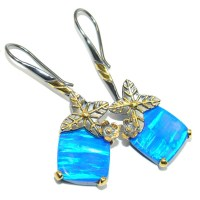 Ocean Blue Japanese Fire Opal Gold Rhodium plated over ...