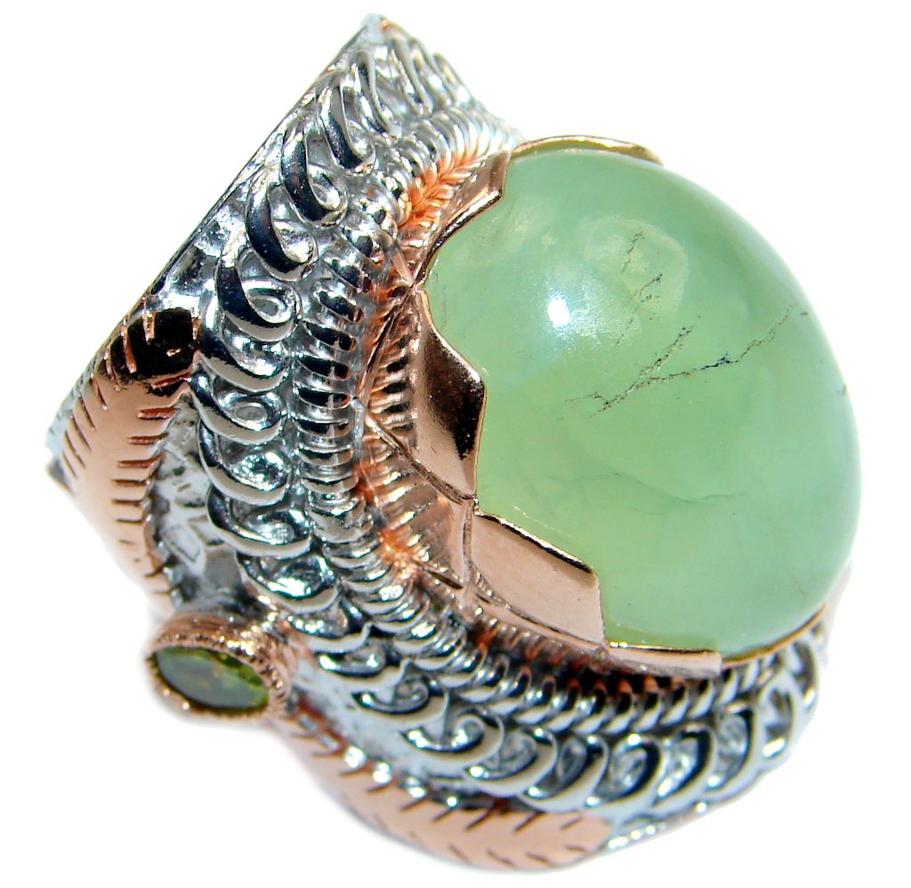 Large Moss Prehnite Peridot Rose Gold Plated Over Sterling