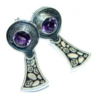Unique NATURAL Amethyst Sterling Silver stud earrings - 6 ...