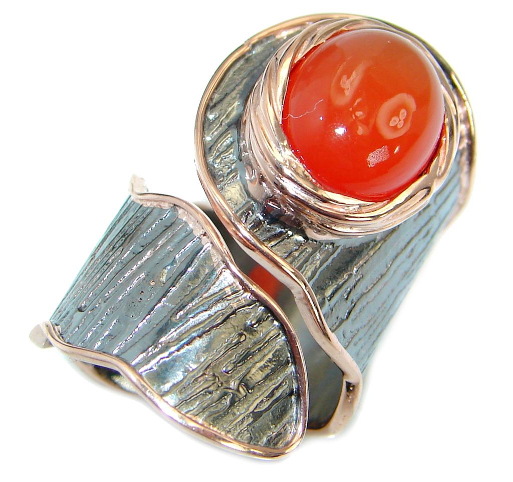 Genuine Orange Carnelian Gold Rhodium Plated Over Sterling
