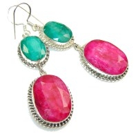 Exotic Design!! Pink Ruby Sterling Silver earrings - 16 ...