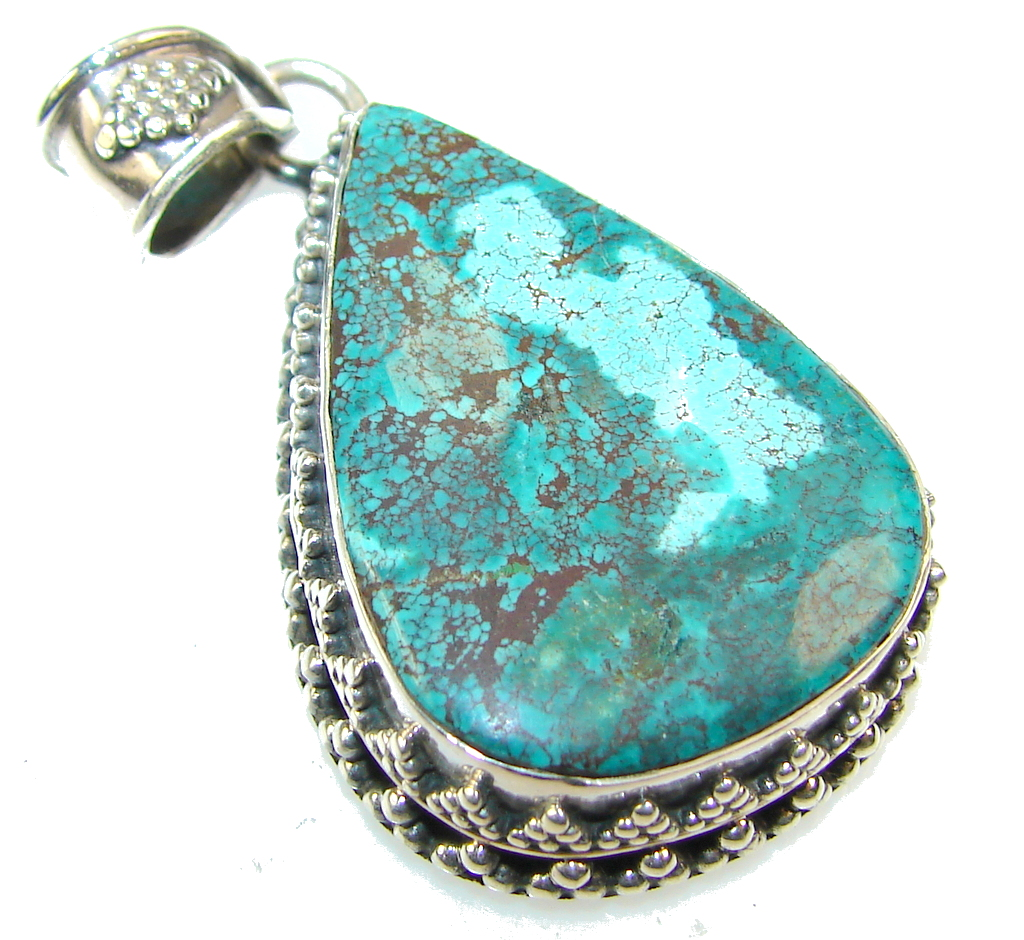 Traditions Green Turquoise Sterling Silver Pendant 16
