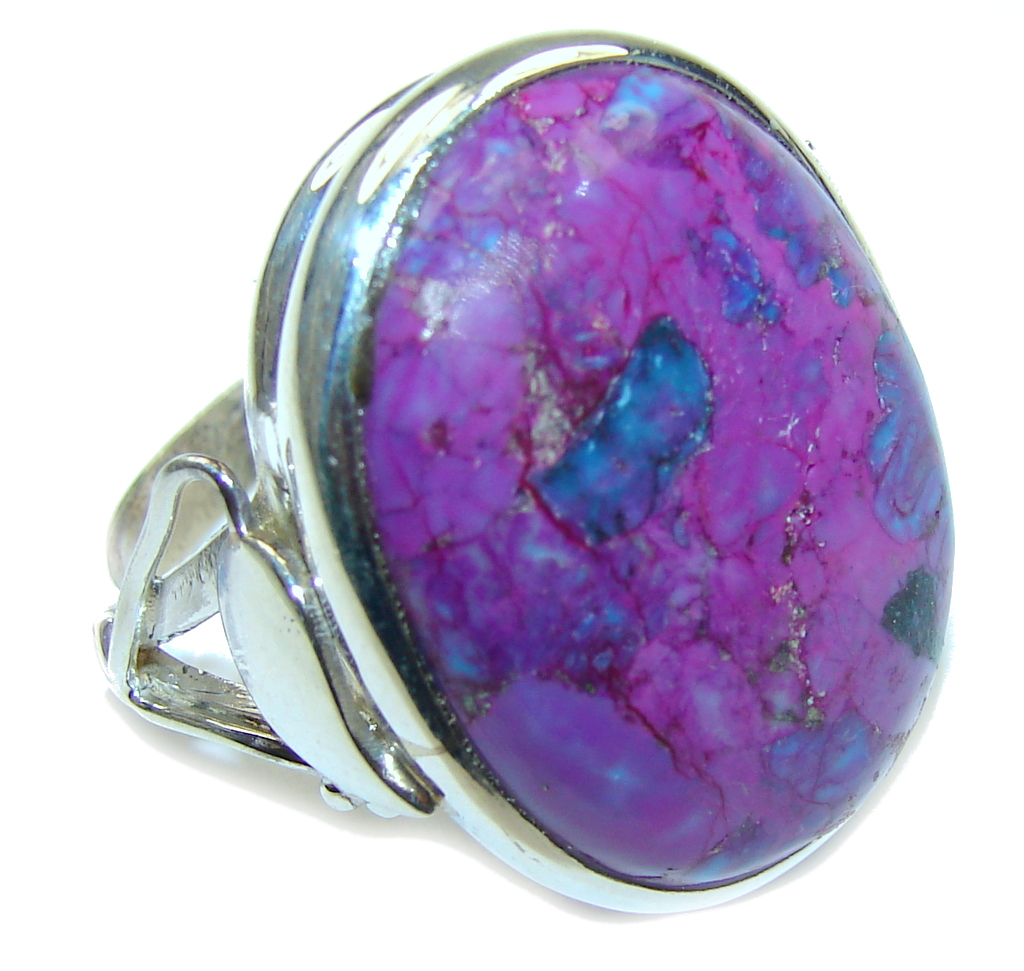 Big Simple Beauty Purple Turquoise Sterling Silver Ring