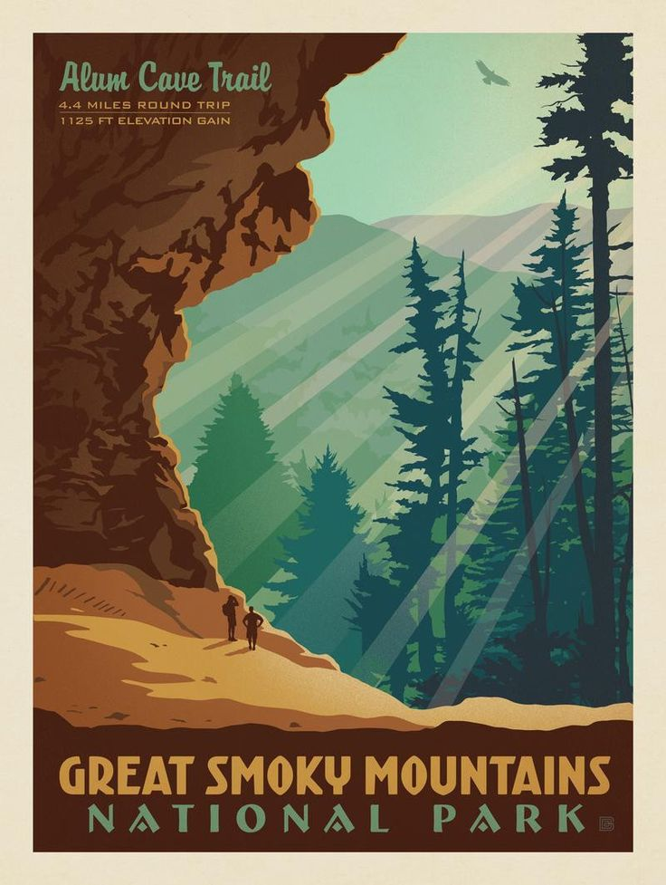 Anderson Design Group – American National Parks – Great Smoky Mountains National Park: Alum Cave