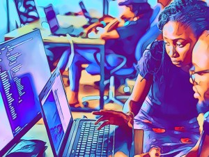 Photo illustration of manager helping out colleague with code