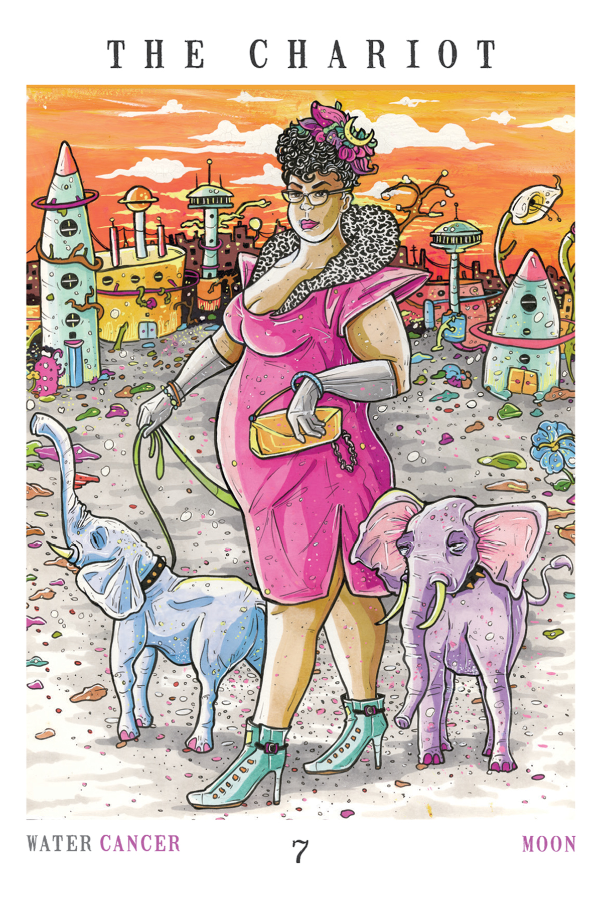 The Chariot - The Next World Tarot - A femme in a pink cocktail dress, fur collar, turquoise boots, and with a crescent moon in her hair, takes her pet miniature elephants for a walk