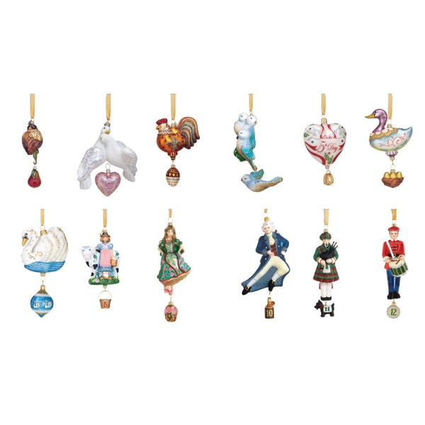 12 Days Of Christmas Collection Glass Ornaments Reed And Barton