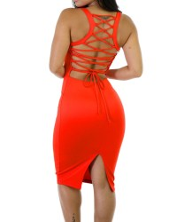 Corset-style back lace up dress casual office women knee ...