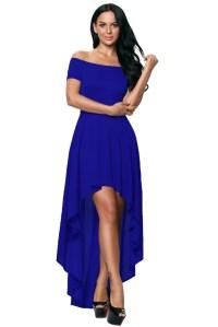 Blue High Low Hem Off Shoulder Party Dress Evening Dance ...