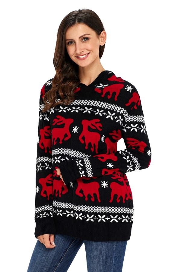 Cute Christmas Reindeer Knit Hooded Sweater Womens Jumper