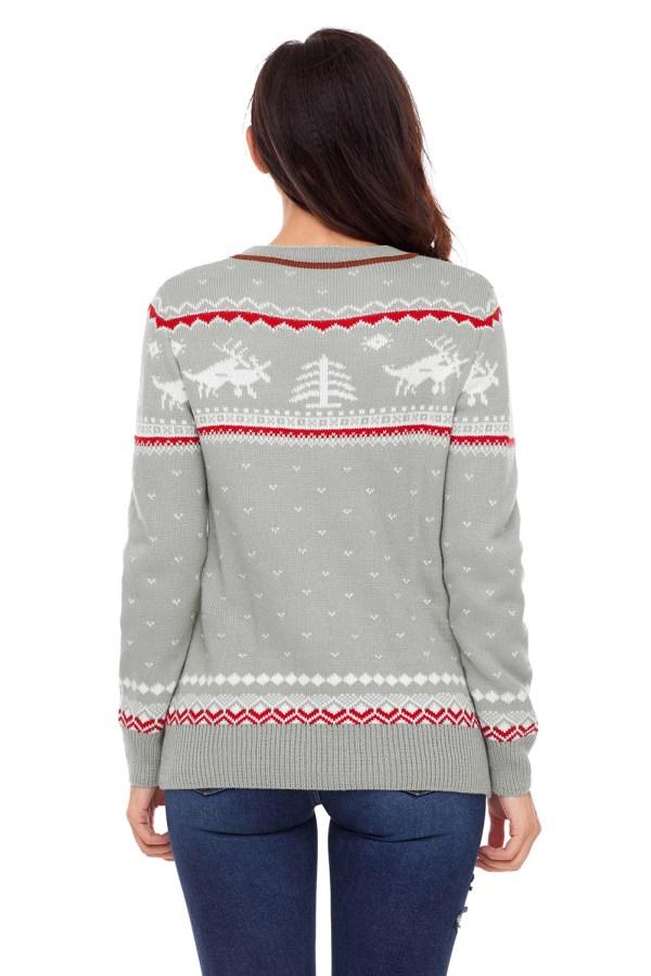 Christmas Reindeer Knit Sweater Winter Jumper Womens Cute